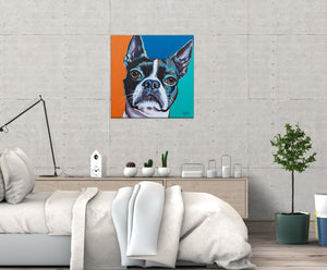 Boston Terrier multi color dog painting on bedroom wall