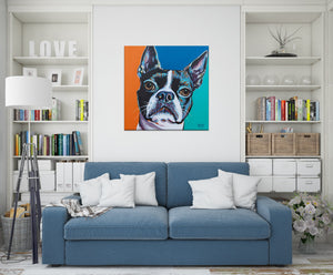 Boston Terrier multi color dog painting on family room wall