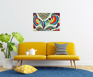 colorful painting of owls eyes in a family room