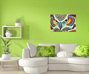 colorful painting of owls eyes in sitting room