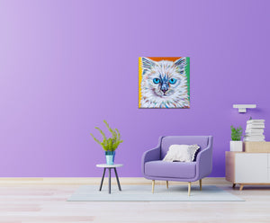 Serious Ragdoll multi color cat painting in a family room