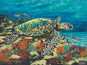 Ocean Floor Swimming | Original Acrylic Painting