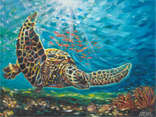 Load image into Gallery viewer, Deep sea swimming turtle painting