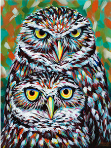 Fury Feathered Owl Friends | Canvas Print