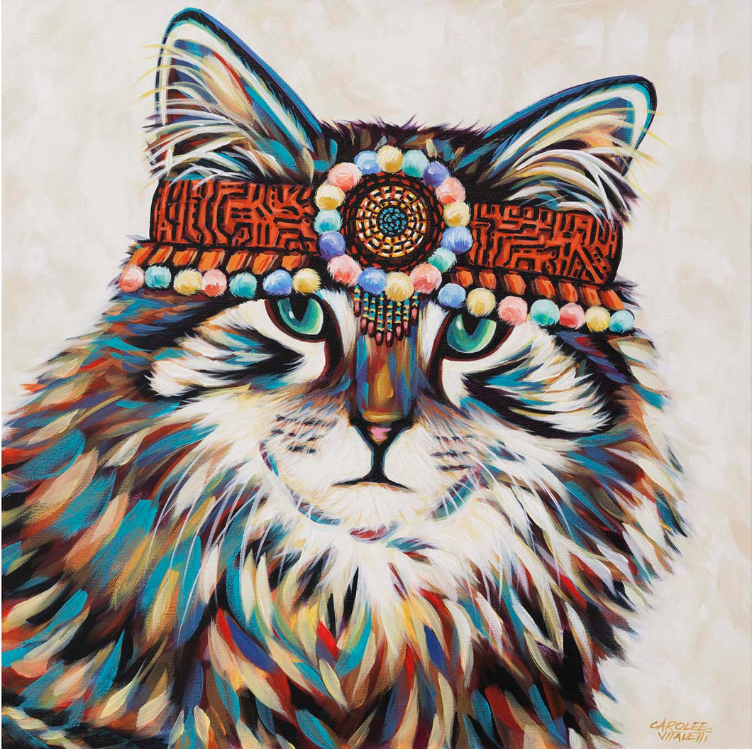 Hippie Cat | Original Acrylic Painting