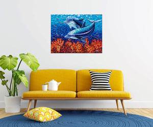 Playful Dolphins | Original Acrylic Painting