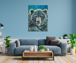 Bear Spirit Animal Painting in living room setting