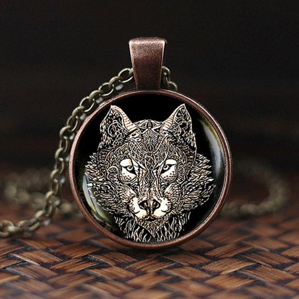 Men Cool Elephant Fox Horse Shark Wolf Pendant Necklace Women Fashion Choker Necklace Wild Animal Glass Cabochon Jewelry Gift