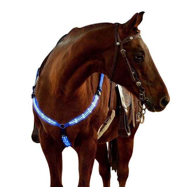Adjustable LED Horse Riding Belt Nylon Horse Chest Belt Night Visible Breastplate Equitation  Lighting Equestrian Equipment