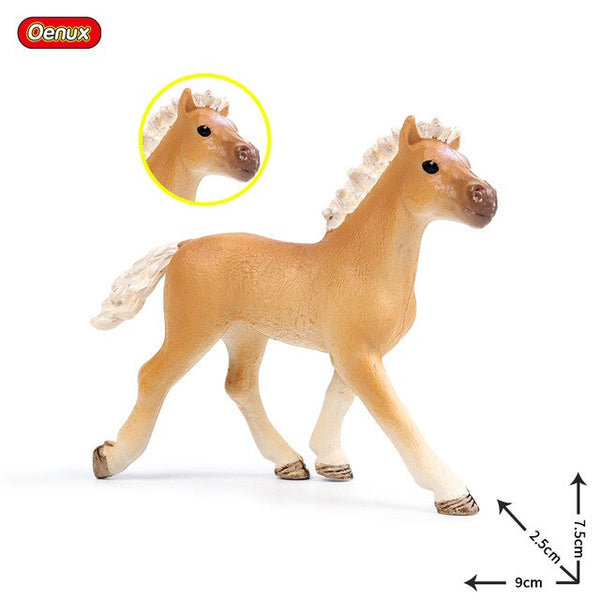 Oenux Original Genuine Farm Animals Horse Model Action Figures Wild Steed Figurines PVC High Quality Education Toy For Kids Gift