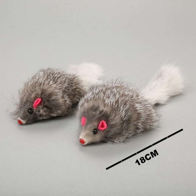 1Pcs 18cm Cat Pet Toys Real Fur Cat Long-haired Tail Feathers Mice Mouse Rabbit Cat Dog Toys