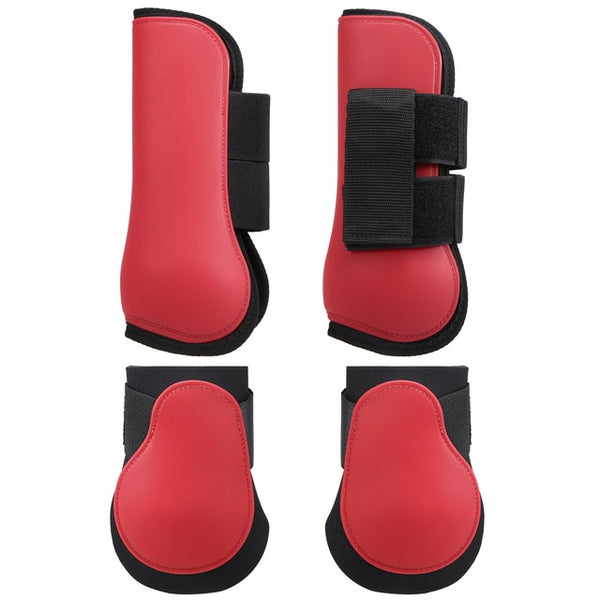 Adjustable Horse Riding Leg Boots Set Equine Front Leg Guard Hind Boots Neoprene Horse Hock Protectors Equestrian Equipment