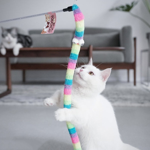 Colorful Kitten Cat Toy Interactive Soft Tease Cat Wand Rod Cat Toy Feathers Tease Cat Stick Products Training Exerciser