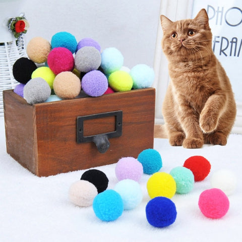 30 Pcs/lot Soft Cat Toy Balls Kitten Toys Candy color Assorted Ball Interactive Cat Toys cats Play Scratch Catch Interactive toy