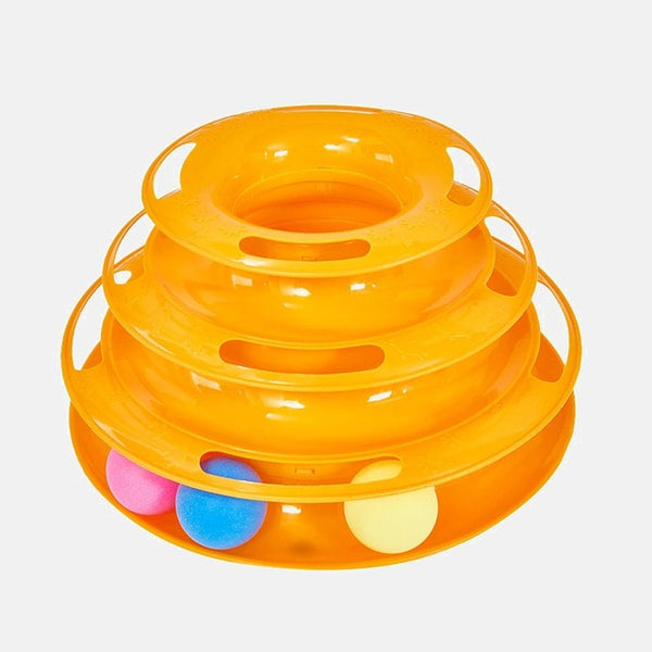 Three Levels pet cat toy Tower Tracks Disc cat Intelligence Amusement triple disc cat toys ball Training Amusement plate Kitten