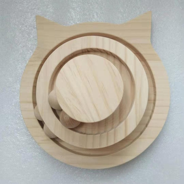 26X26X11CM Three Levels Wooden Tower Tracks Cat Interactive Ball Toys Cat Intelligence Amusement Play Disc Cat Crazy Ball Disk