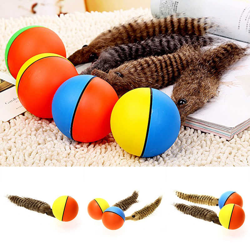 JX-LCLYL Funny Pet Dog Puppy Cat Motorized Rolling Ball with Weasel Appears Jump Toy