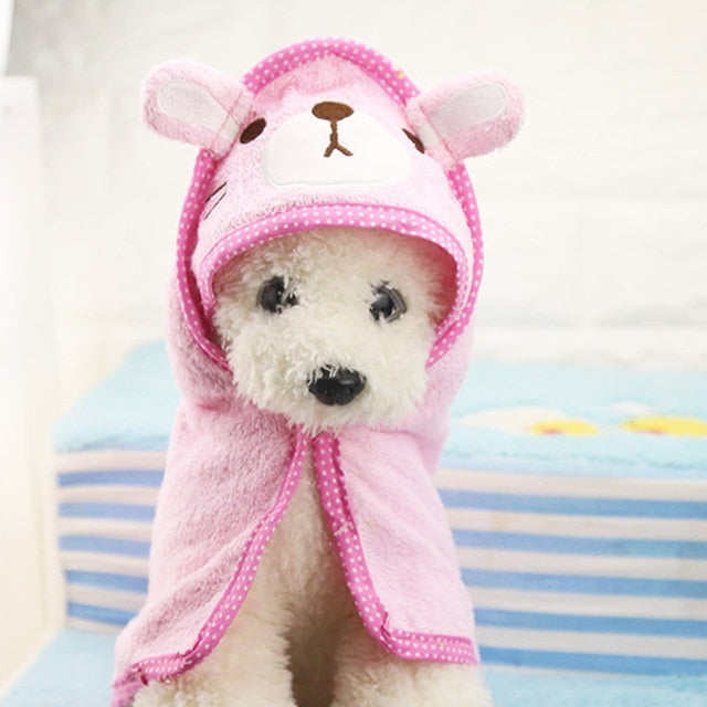Cute Pet Dog Cat Towel Pets Drying Bath Towels with Hoodies Warm Blanket Soft Drying Cartoon Puppy Super Absorbent Bathrobes