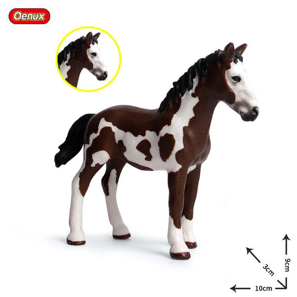 Oenux New Farm Animals Horse Model Action Figures Classic Appaloosa Clydesdale White Horses Figurines Collection Toy For Kids