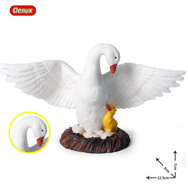 Oenux Poultry Farm Animals Model Simulation Farmer Duck Pig Cows Hen Horse Bird Action Figures Figurine Miniature Cute Kids Toy