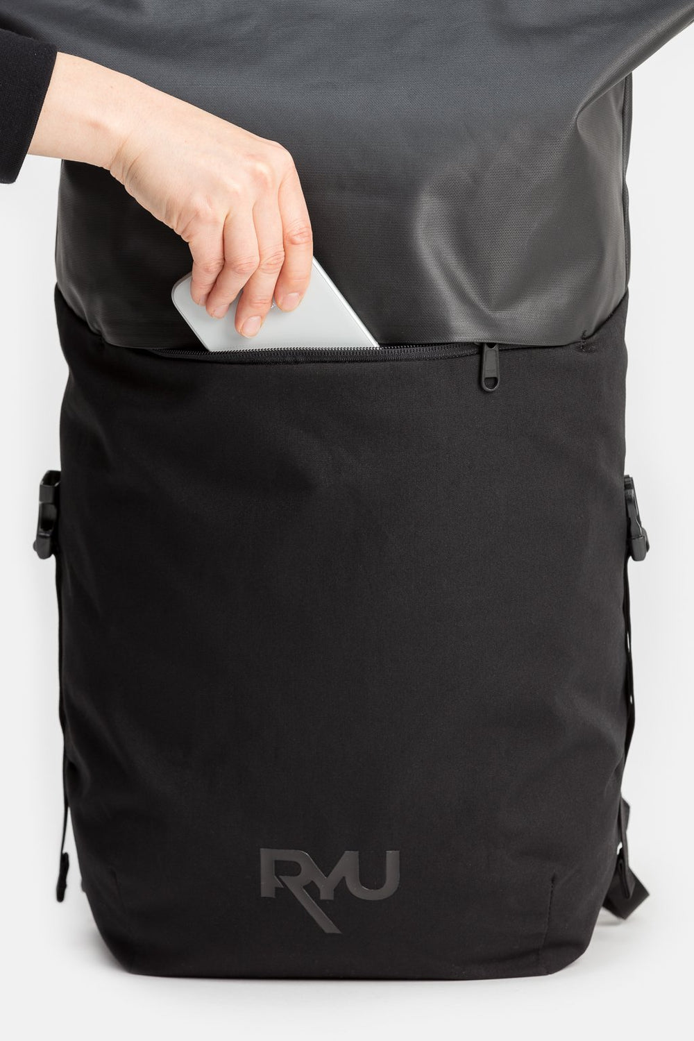 RYU Bags Roll Top Pack 23L-29.5L in Black