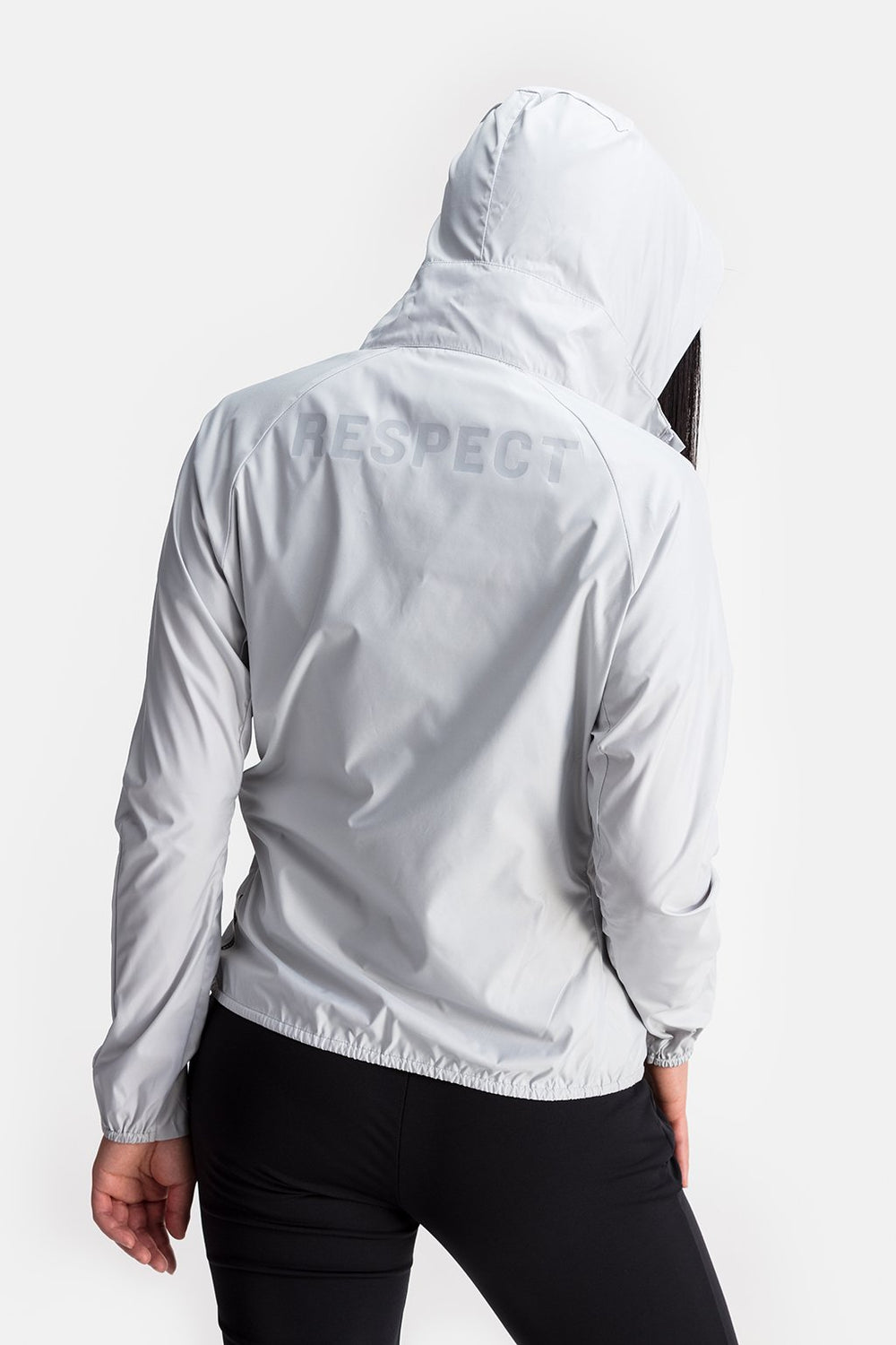RYU Womens Wind Shell Jacket in Platinum / Back Print