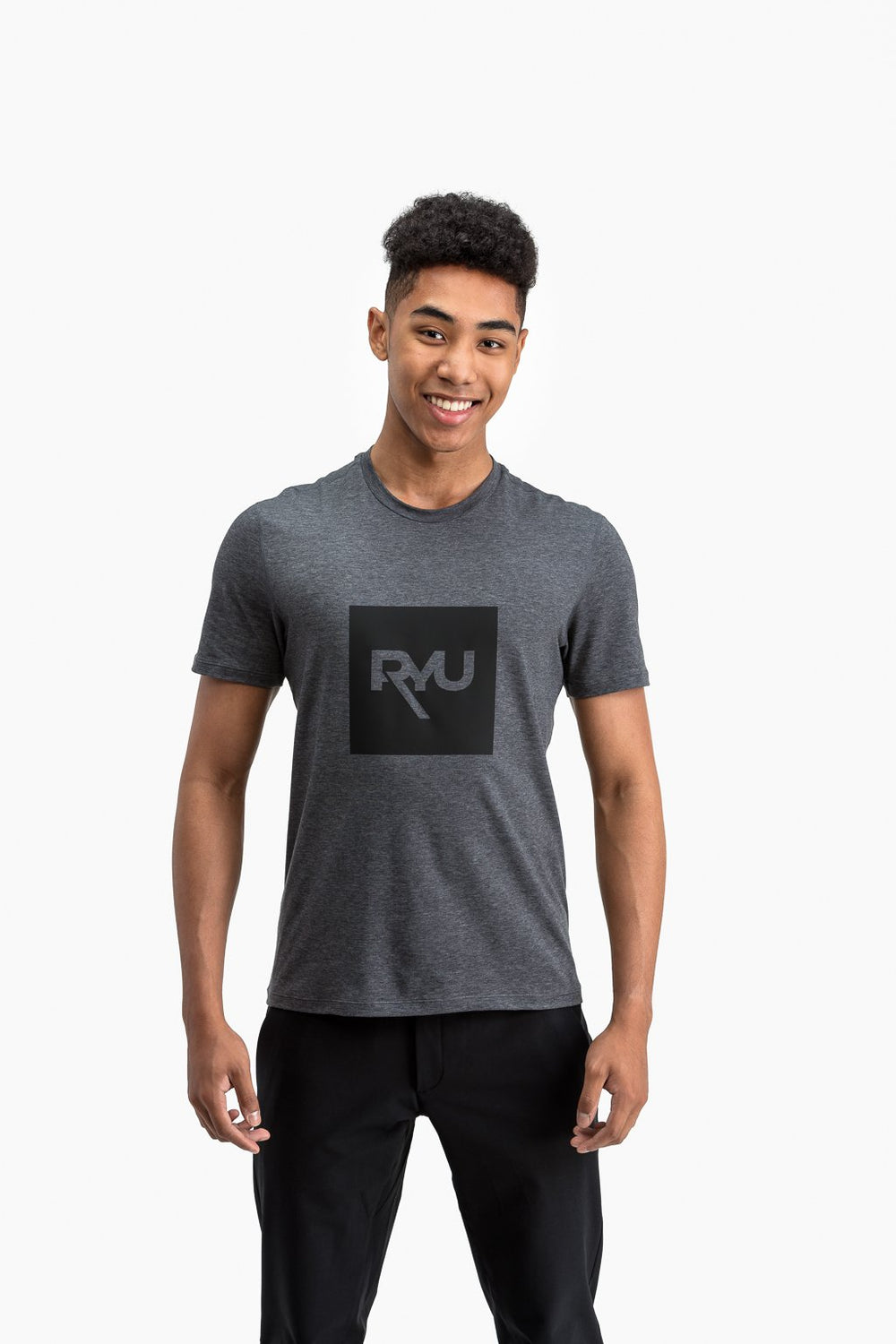 RYU Mens Standard Issue Crew - RYU Graphic in Heather Asphalt