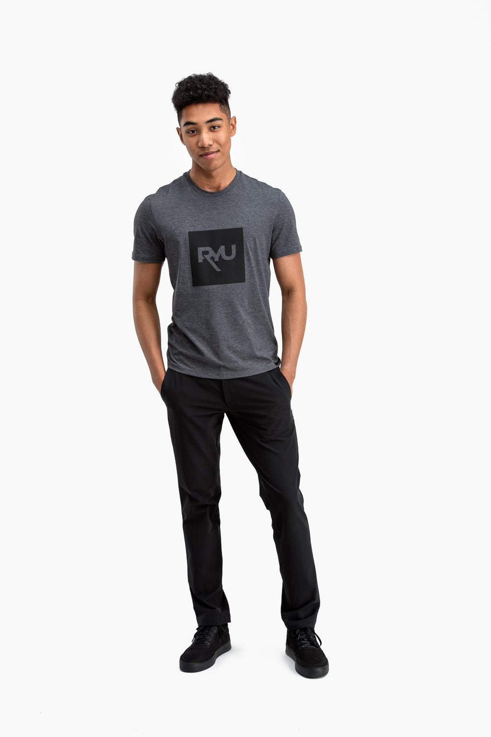 RYU Mens Standard Issue Crew - RYU Graphic in Asphalt Heather