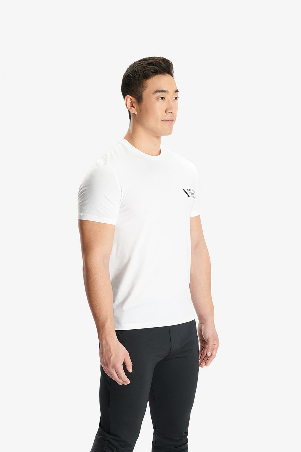RYU Mens Standard Issue Crew - RESPECT YOUR UNIVERSE Graphic in White