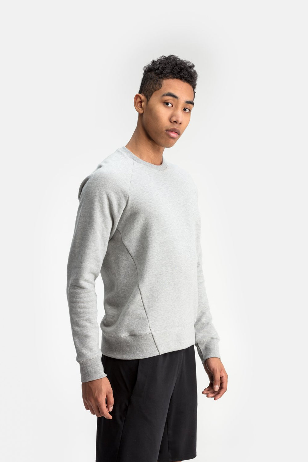 RYU Mens Graphic Core Crew in Athletic Grey Heather