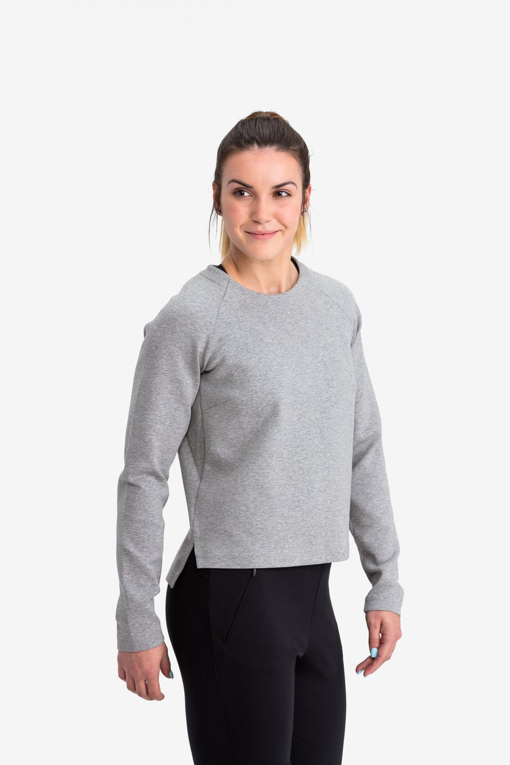 RYU Womens Ethos Crew in Heather Stone Grey