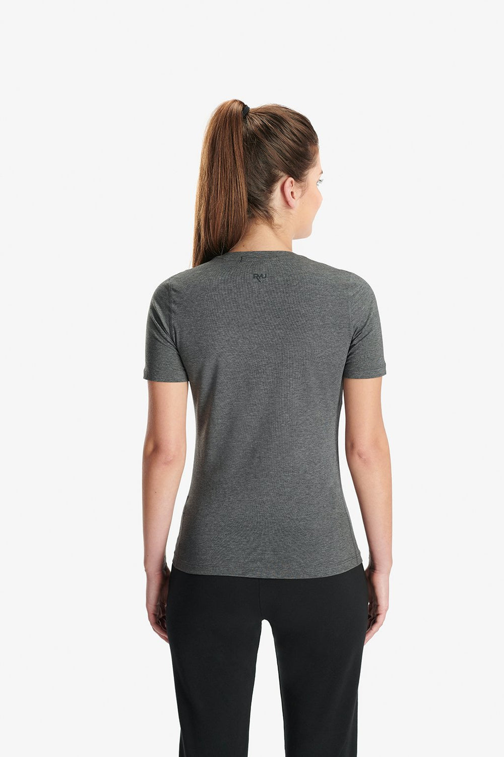 RYU Womens Standard Issue Crew - RESPECT YOUR UNIVERSE Graphic in Asphalt Heather