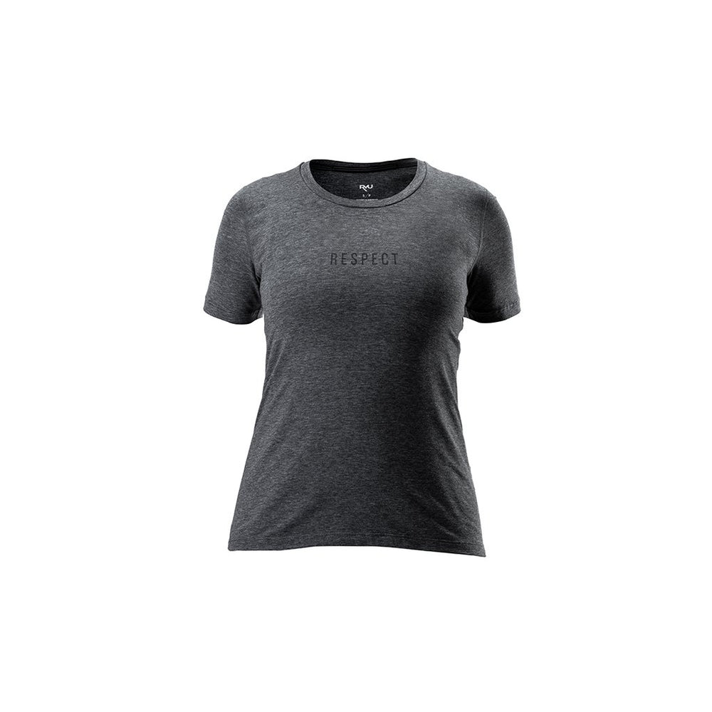 RYU Womens Standard Issue Tee - Respect Graphic in Asphalt Heather