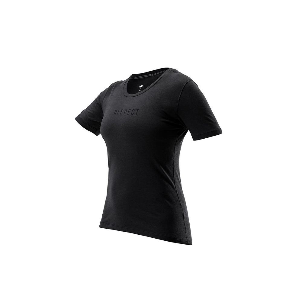 RYU Womens Standard Issue Tee - Respect Graphic in Raven