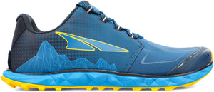 Altra Men's Superior 4.5 Trail Running Shoe in Blue/Yellow Side View