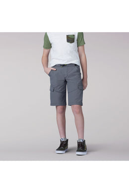 Proof Pull-On Varsity Cargo Short in Pewter from Front View