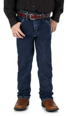 Boys' Wrangler Cowboy Cut Jean 1-7 in Dark Indigo from the front