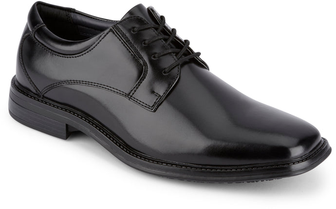 Dockers Footwear Men's Irving Slip Resistant Dress Oxford Shoe in Black Side Angle View