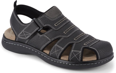 Dockers Footwear Men's Searose Sporty Fisherman Sandal in Black Side Angle View