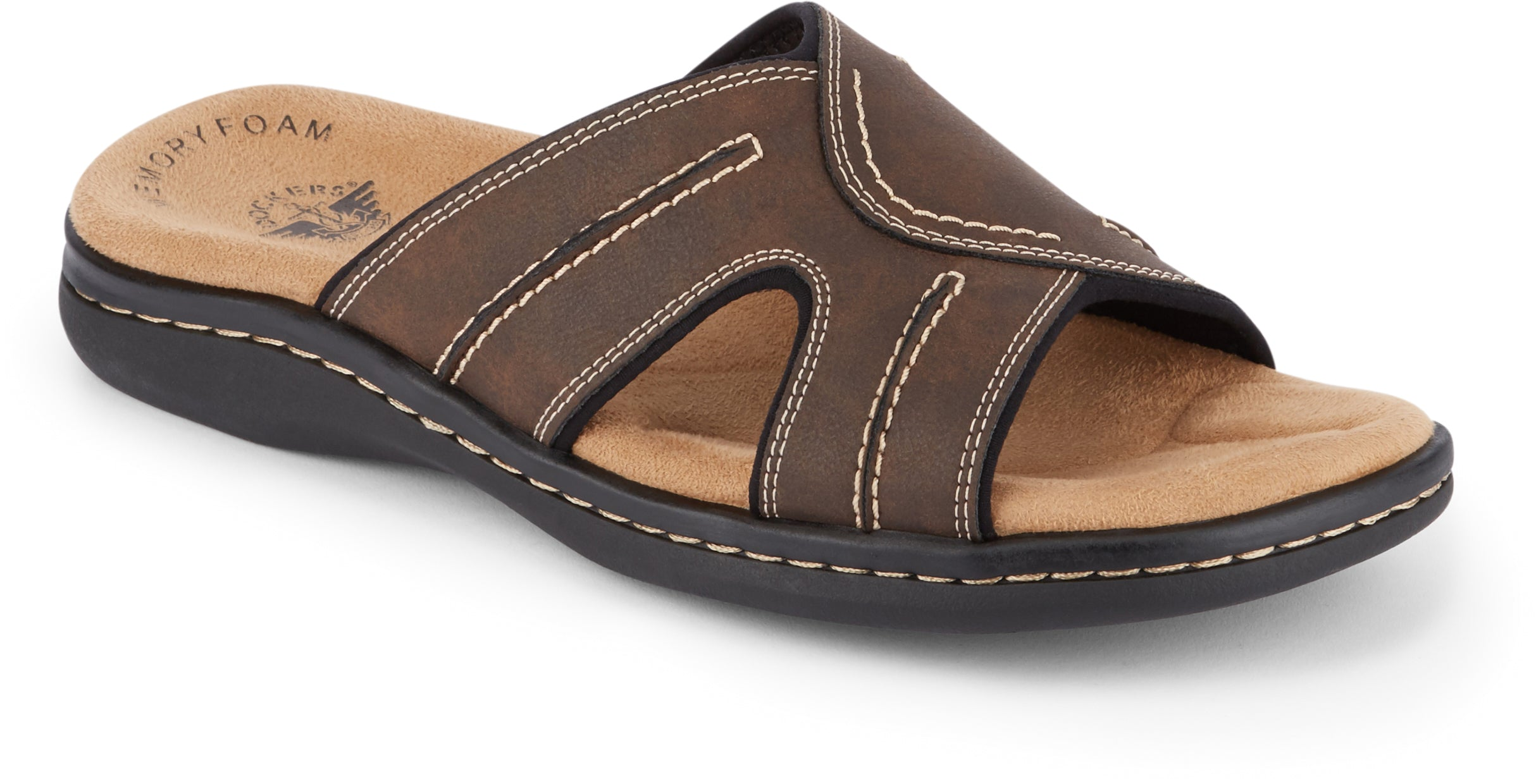 Dockers Men's Sunland Slide Sandal in Dark Brown from the side view