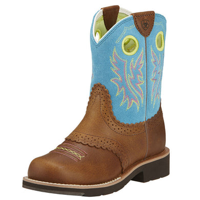 Girls' Fatbaby Cowgirl Western Boot in Back Country Tan/Bright Blue from the side