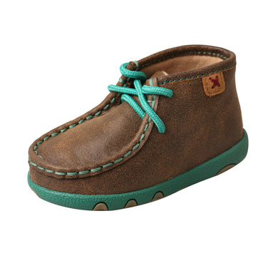 Infant Twisted X Chukka Driving Moccasins Shoe in Bomber & Turquoise from the side view