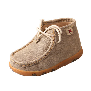 Infant Twisted X Chukka Driving Moccasins Shoe in Dusty Tan from the front