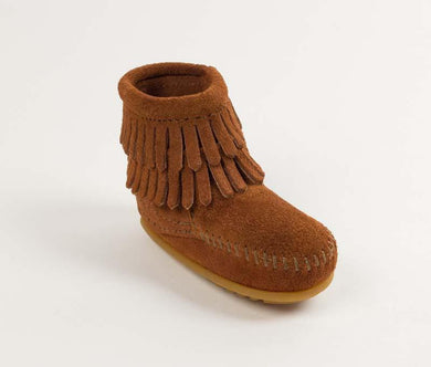 Double Fringe Size Zip Bootie in Brown from 3/4 Angle View