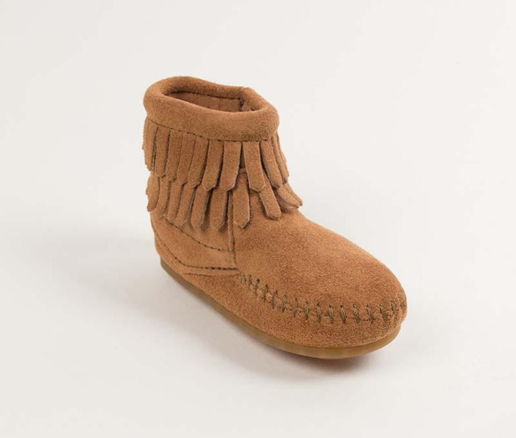 Double Fringe Size Zip Bootie in Taupe from 3/4 Angle View