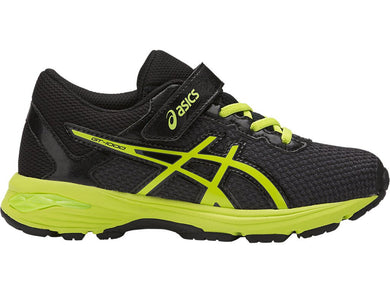 Kid's Asics Gt-1000 6 PS Running Shoe in Black/Energy Green/Silver