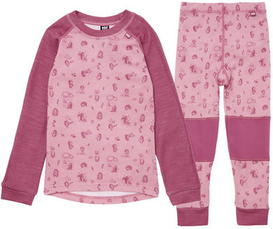 Helly Hansen Kid's Lifa Merino Set in Bubblegum Pink from the front