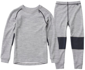 Helly Hansen Kid's Lifa Merino Set in Grey Melange from the front