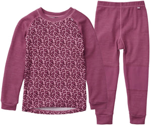 Helly Hansen Kid's Lifa Merino Set in Magenta Haze from the front