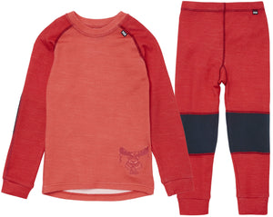 Helly Hansen Kid's Lifa Merino Set in Raspberry from the front